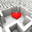 Finding Love Shows Heart In Maze — ストック写真