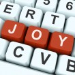Joy Key Shows Fun Or Happines — 图库照片