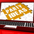 Party Ideas Laptop Shows Celebration Planning Suggestions — Stock Photo