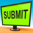 Stock Photo: Submit Monitor Shows Submitting Submission Or Application
