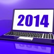 Two Thousand And Fourteen On Laptop Shows Year 2014 — Stockfoto