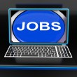Jobs On Laptop Shows Unemployment Employment Or Hiring Online — Stock Photo #32854707