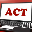 Постер, плакат: Act On Laptop Shows Motivate Inspire Or Performing