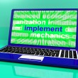 Stock Photo: Implement Laptop Shows Implementing Or Executing Plan