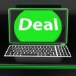 Deal Laptop Shows Contract Online Trade Deals Or Dealing — Stock Photo