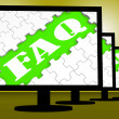 Stock Photo: Faq On Monitors Shows Faqs Frequently Asked Questions Online