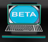 Beta On Laptop Shows Online Trial Software Or Development — Stockfoto