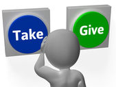 Take Give Buttons Show Compromise Or Negotiation — Stock Photo