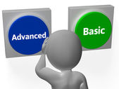 Advanced Basic Buttons Show Advancement Or Basics — Stock Photo