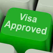 Visa Approved Key Shows Country Admission Authorized — Stock Photo