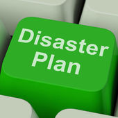 Disaster Plan Key Shows Emergency Crisis Protection — Stock Photo