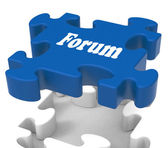 Forum Puzzle Shows Conversations Community Discussion And Advice — Stock Photo