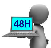Forty Eight Hour Laptop Character Shows 48h Delivery Or Service — Stock Photo