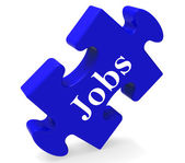 Jobs Puzzle Shows Recruitment Employment Or Hiring — Stock Photo