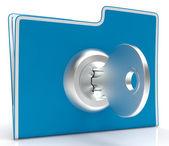 Soubor s klíčem ukazuje bezpečnost a klasifikované — Stock fotografie