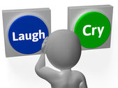 Laugh Cry Buttons Show Sad Happy Or Laughter — Stock Photo