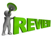 Review Character Shows Assessing Evaluating Evaluate And Reviews — Stock Photo