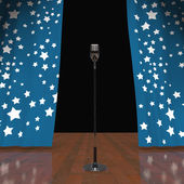 Microphone On Stage Shows Concert Or Talent Show — Stock Photo