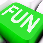 Fun Key Means Exciting Entertaining Or Joyfu — Stock Photo