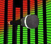 Korektor graficzny i mikrofon pokazuje ścieżkę dźwiękową muzyki pop lub c — Zdjęcie stockowe