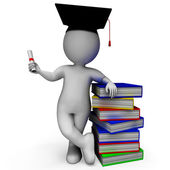 Student With Diploma Shows Graduation — Stock Photo