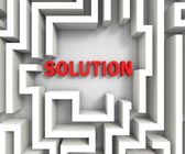 Solution In Maze Shows Puzzle Solved — Stock Photo