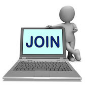 Join On Laptop Shows Enlist Membership Or Volunteer Online — Stock Photo