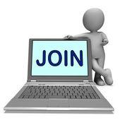 Join On Laptop Shows Enlist Membership Or Volunteer Online — Stock Photo