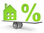 дом и % подписывают смысл инвестиций или скидку — Стоковое фото
