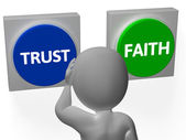 Trust Faith Buttons Show Trustful Or Faithfulness — Stock Photo