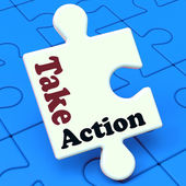 Take Action Puzzle Shows Inspire Inspirational And Motivate — Stock Photo