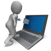 Dizüstü bilgisayarınızdan e-posta e-posta yazışmaları gösterir — Stok fotoğraf