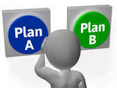 Plan A B Buttons Show Alternative Or Backup — Stock Photo