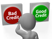 Bad Good Credit Shows Debt Or Loan — Stock Photo