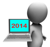 Two Thousand And Fourteen Character And Laptop Shows New Year 20 — Stock Photo