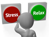 Stress Relax Buttons Show Stressed Or Relaxed — Stock Photo