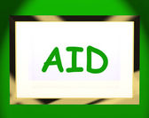 Aid On Screen Shows Assist Aiding Help Or Relief — Stock Photo