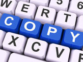 Copy Key Shows Copying Duplicating Or Replicat — Stock Photo