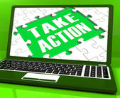 Take Action Laptop To Inspire And Motivate — Stock Photo
