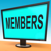 Members Online Shows Membership Registration And Web Subscribing — Stock Photo