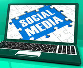 Social Media On Laptop Shows Online Relation — Stock Photo