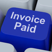 Invoice Paid Key Shows Bill Payment Made — Stock Photo