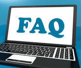 Faq On Laptop Shows Solution And Frequently Asked Questions Onli — Stock Photo