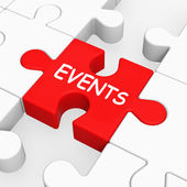 Events Puzzle Means Occasion Event Or Function — Stock Photo