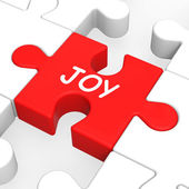Joy Puzzle Shows Cheerful Fun Happy And Enjoy — Stock Photo