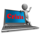 Crisis Laptop Means Calamity Troubles Or Critical Situation — Stock Photo
