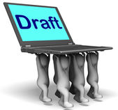 Draft Characters Laptop Show Outline Document Or Letter Online — Stock Photo