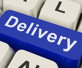 Delivery Key Means Distribution Or Transmissio — Stock Photo
