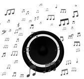 扬声器和音乐笔记显示电影配乐迪斯科或音乐会 — 图库照片