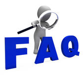 Faq 3d Character Shows Assistance Inquiries Or Frequently Asked — Stock Photo